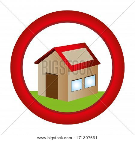 circular button with house one floor inside and garden vector illustration