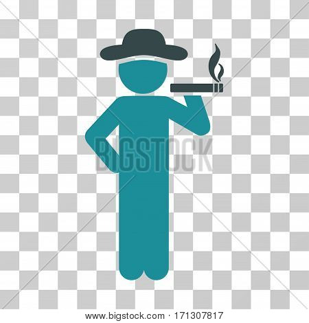 Smoking Gentleman icon. Vector illustration style is flat iconic bicolor symbol soft blue colors transparent background. Designed for web and software interfaces.