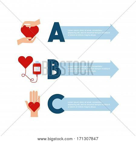 infographic presentation of donation blood concept. colorful design. vector illustration