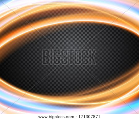 Colorful vector light effect on transparent background. Banner layout with blue and orange magic glowing waves.