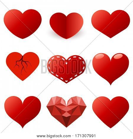 Red hearts shapes set isolated on white background. Raster copy.
