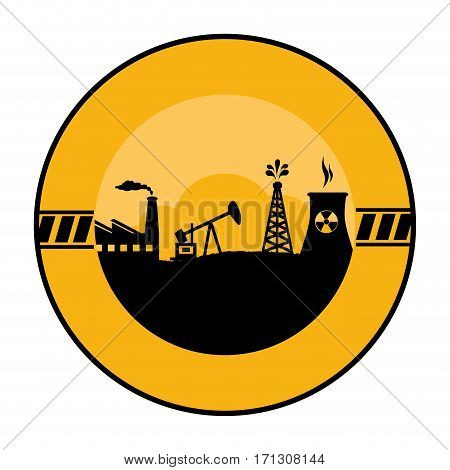 circular border with background silhouette oil extraction machine with factory radioactive materials vector illustration