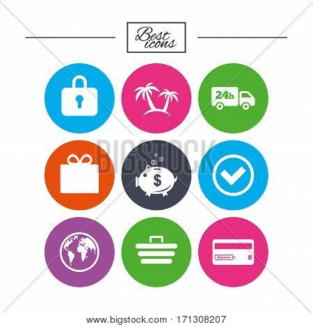 Online shopping, e-commerce and business icons. Credit card, gift box and protection signs. Piggy bank, delivery and tick symbols. Classic simple flat icons. Vector