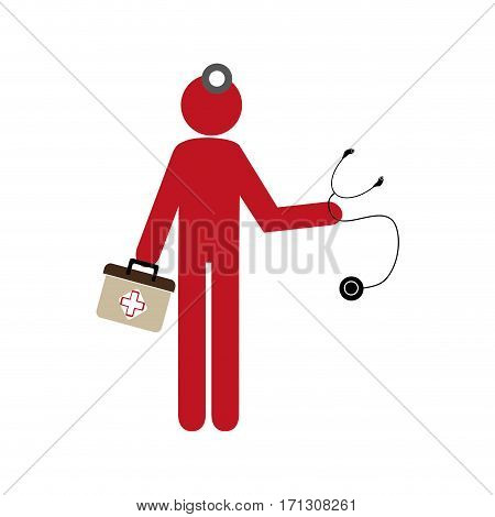 silhouette pictogram doctor with kit firts aid vector illustration