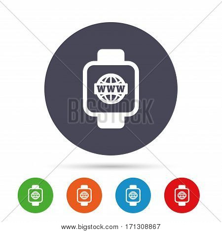 Smart watch sign icon. Wrist digital watch. Globe internet symbol. Round colourful buttons with flat icons. Vector