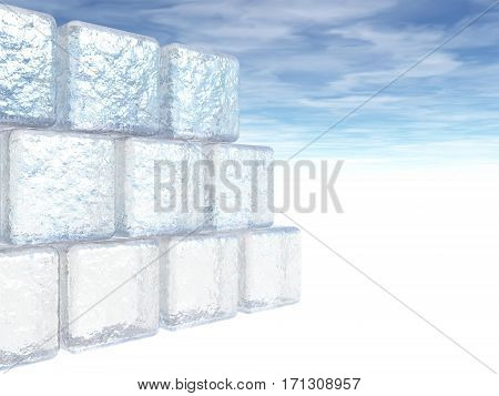 A 3D illustration of a wall of ice blocks on white.