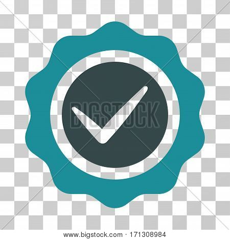 Valid Seal icon. Vector illustration style is flat iconic bicolor symbol soft blue colors transparent background. Designed for web and software interfaces.