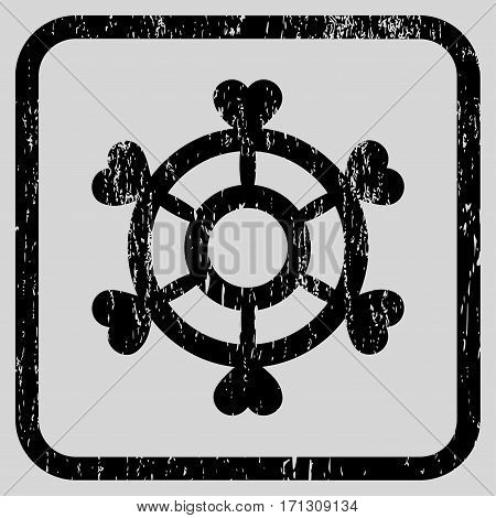 Lovely Boat Steering Wheel rubber watermark. Vector pictogram symbol inside rounded rectangular frame with grunge design and unclean texture. Stamp seal illustration.