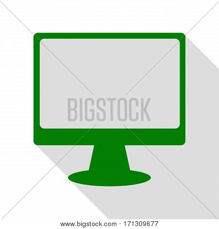 Monitor with brush sign. Green icon with flat style shadow path.