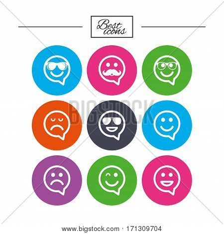 Smile speech bubbles icons. Happy, sad and wink faces signs. Sunglasses, mustache and laughing lol smiley symbols. Classic simple flat icons. Vector