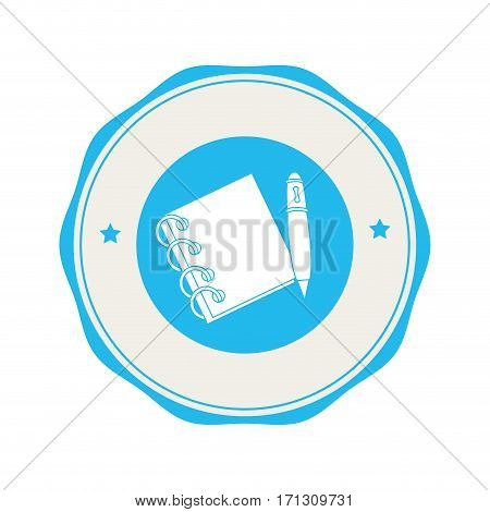 circular border with spiral notebook and pen vector illustration