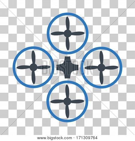 Quadcopter icon. Vector illustration style is flat iconic bicolor symbol smooth blue colors transparent background. Designed for web and software interfaces.