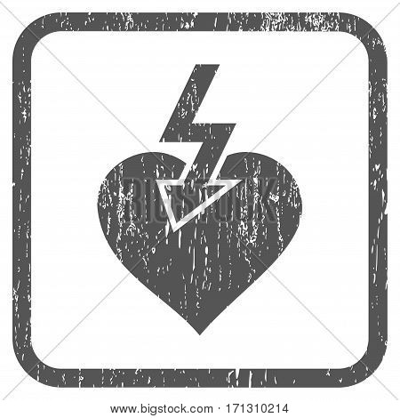 Heart Shock Strike rubber watermark. Vector icon symbol inside rounded rectangular frame with grunge design and unclean texture. Stamp seal illustration. Unclean gray ink emblem on a white background.