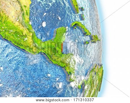 Belize In Red On Earth