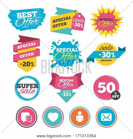 Sale banners, online web shopping. Social media icons. Chat speech bubble and Mail messages symbols. Love heart sign. Human person profile. Website badges. Best offer. Vector
