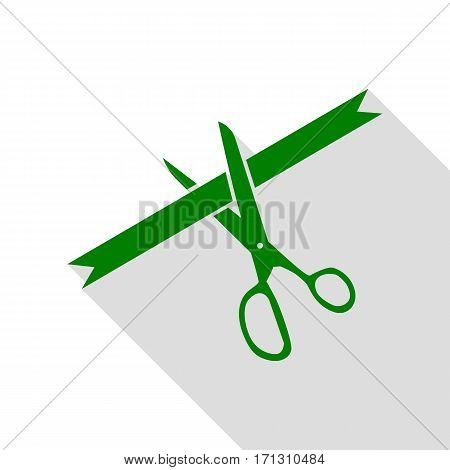 Ceremony ribbon cut sign. Green icon with flat style shadow path.