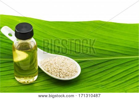 Bottle of sesame oil and sesame seeds in white ceramic spoon on green leaf background.Saved with clipping path.