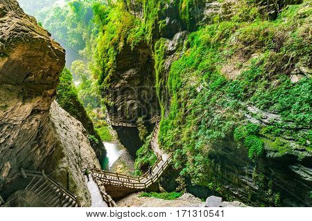 Longshuixia Fissure Gorge in Wulong country Chongqing city southwest China It is a typical karst landscape and fantastic nature place