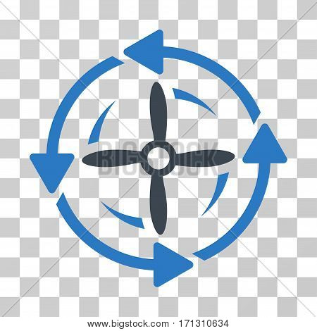 Screw Rotation icon. Vector illustration style is flat iconic bicolor symbol smooth blue colors transparent background. Designed for web and software interfaces.