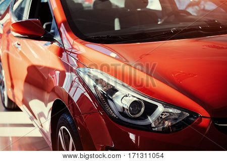 Headlights and hood of sport red car
