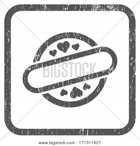Love Stamp Seal rubber watermark. Vector pictogram symbol inside rounded rectangle with grunge design and dirty texture. Stamp seal illustration. Unclean gray ink sticker on a white background.