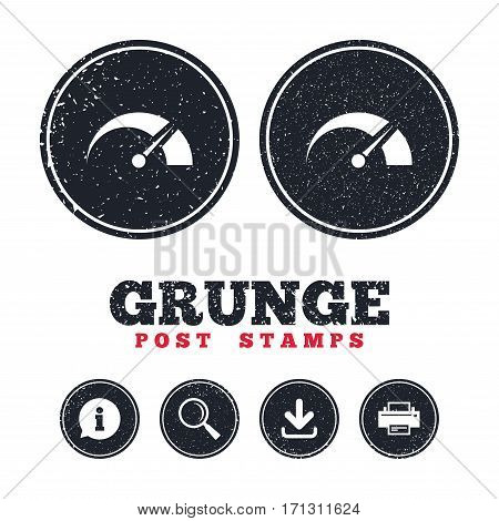Grunge post stamps. Tachometer sign icon. Revolution-counter symbol. Car speedometer performance. Information, download and printer signs. Aged texture web buttons. Vector