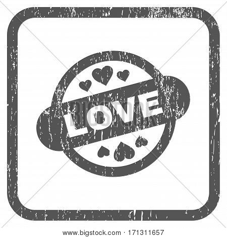 Love Stamp Seal rubber watermark. Vector pictogram symbol inside rounded rectangle with grunge design and unclean texture. Stamp seal illustration. Unclean gray ink emblem on a white background.