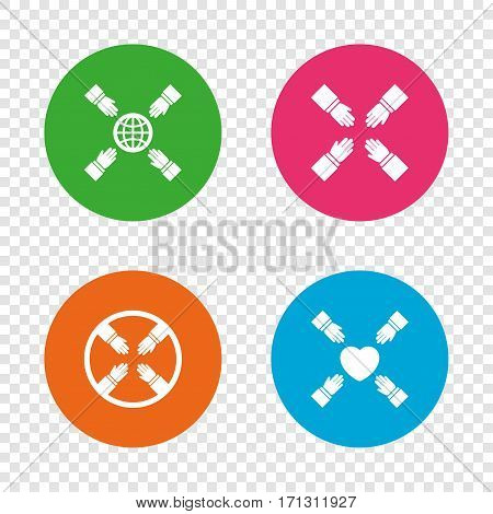 Teamwork icons. Helping Hands with globe and heart symbols. Group of employees working together. Round buttons on transparent background. Vector