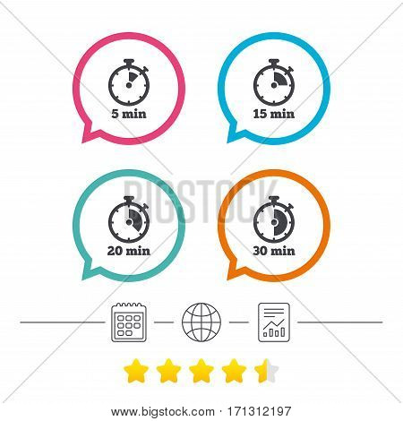 Timer icons. 5, 15, 20 and 30 minutes stopwatch symbols. Calendar, internet globe and report linear icons. Star vote ranking. Vector