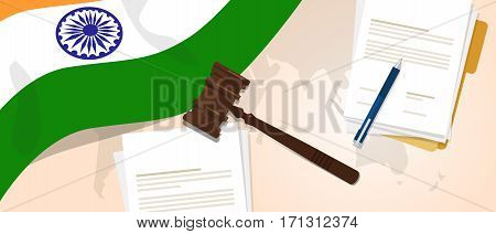 India law constitution legal judgement justice legislation trial concept using flag gavel paper and pen vector