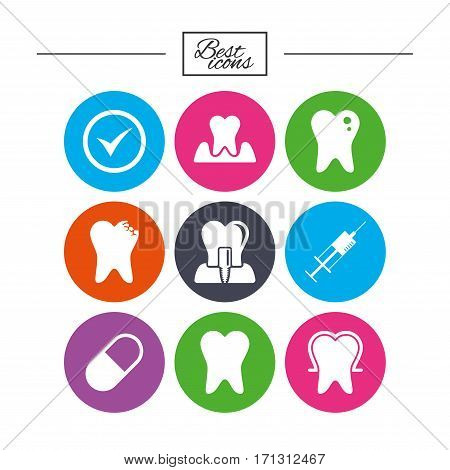 Tooth, dental care icons. Stomatology, syringe and implant signs. Healthy teeth, caries and pills symbols. Classic simple flat icons. Vector