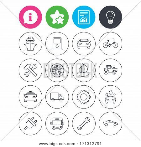 Information, light bulb and report signs. Transport and services icons. Ship, car and public bus, taxi. Repair hammer and wrench key, wheel and cogwheel. Sailboat and bicycle. Favorite star symbol