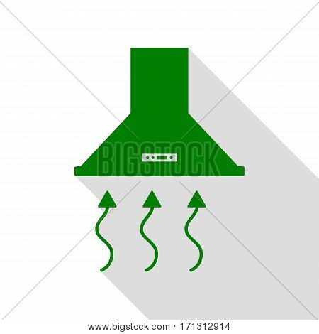 Exhaust hood. Range hood. Kitchen ventilation sign. Green icon with flat style shadow path.