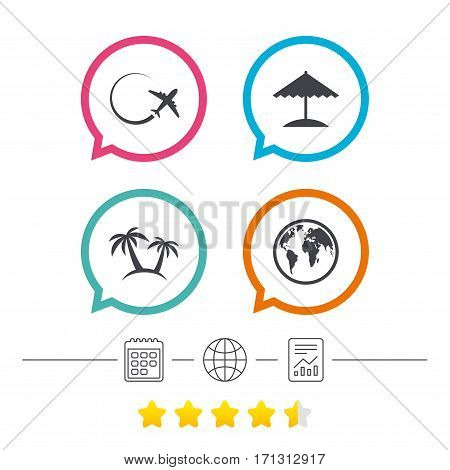 Travel trip icon. Airplane, world globe symbols. Palm tree and Beach umbrella signs. Calendar, internet globe and report linear icons. Star vote ranking. Vector