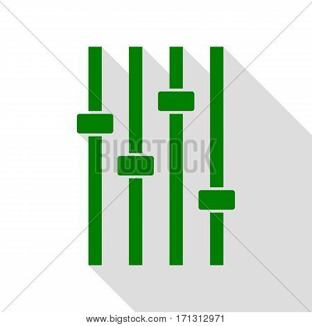 Adjustment music line sign. Green icon with flat style shadow path.