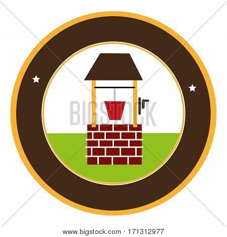circular frame with wooden well and bucket water vector illustration