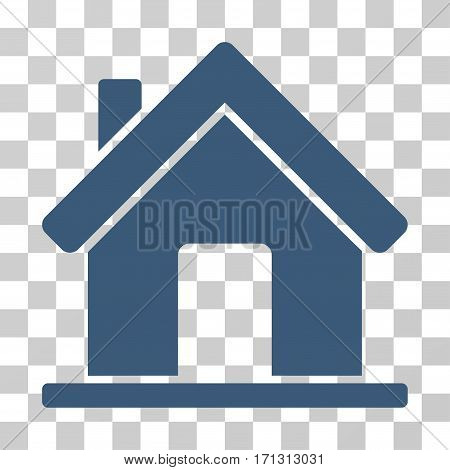 Home icon. Vector illustration style is flat iconic symbol blue color transparent background. Designed for web and software interfaces.