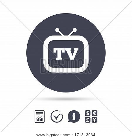 Retro TV sign icon. Television set symbol. Report document, information and check tick icons. Currency exchange. Vector