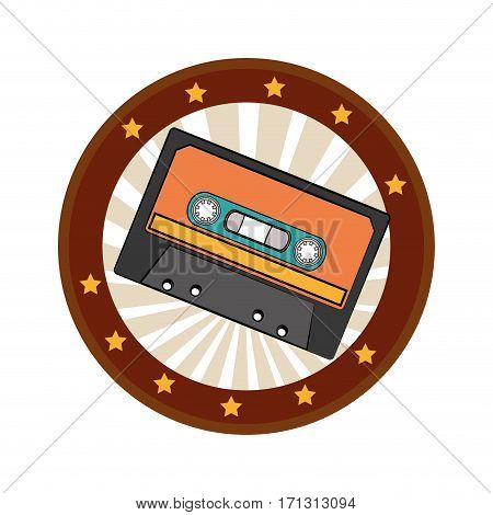 color circular frame with cassette tape vector illustration
