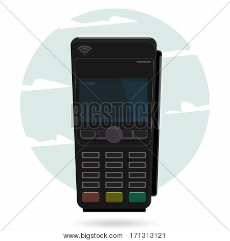 Pos terminal payment. Illustration pos machine or credit card terminal. Concept of cashless payment and credit card payment.