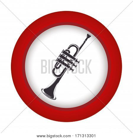 red circle with gray trumpet vector illustration