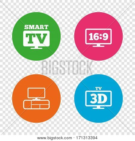 Smart TV mode icon. Aspect ratio 16:9 widescreen symbol. 3D Television and TV table signs. Round buttons on transparent background. Vector