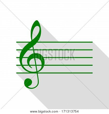 Music violin clef sign. G-clef. Green icon with flat style shadow path.