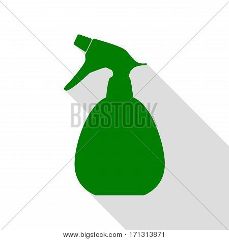 Spray bottle for cleaning sign. Green icon with flat style shadow path.