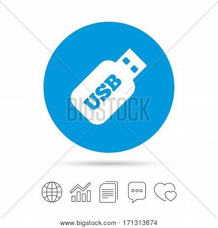 Usb Stick sign icon. Usb flash drive button. Copy files, chat speech bubble and chart web icons. Vector