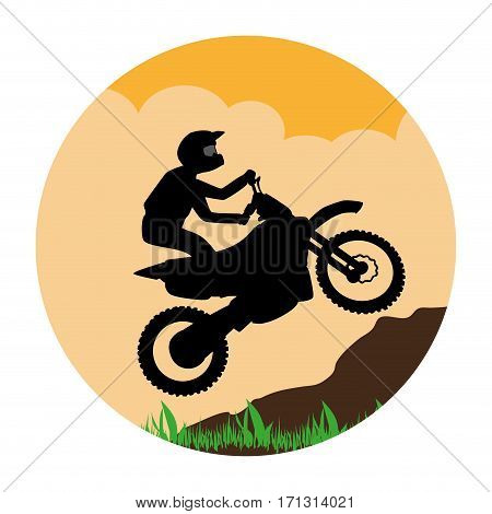 circular landscape with sports motorcyclist vector illustration