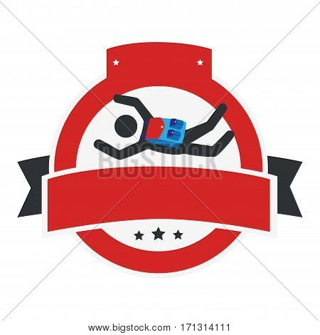 circular emblem with ribbon and skydiver vector illustration