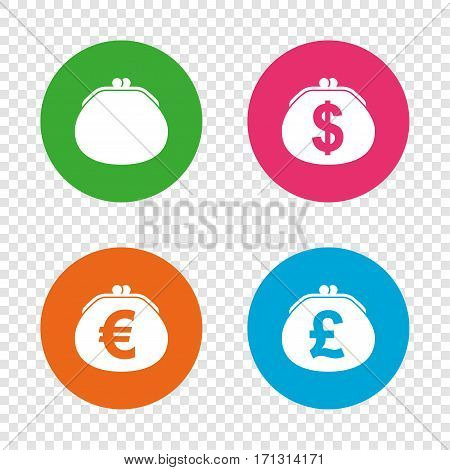 Wallet with Dollar, Euro and Pounds currency icons. Cash bag signs. Retro wealth symbol. Round buttons on transparent background. Vector