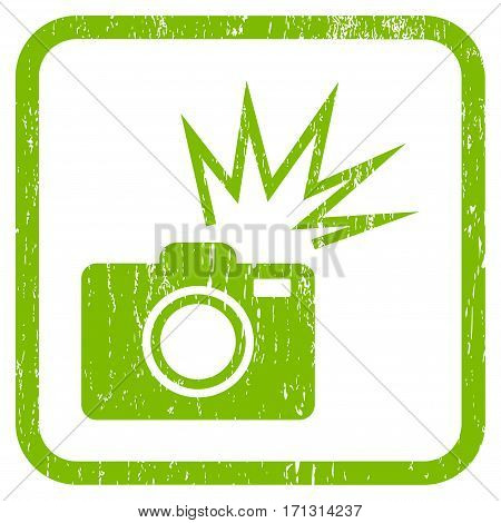 Camera Flash rubber watermark. Vector icon symbol inside rounded rectangle with grunge design and dust texture. Stamp seal illustration. Unclean light green ink sticker on a white background.