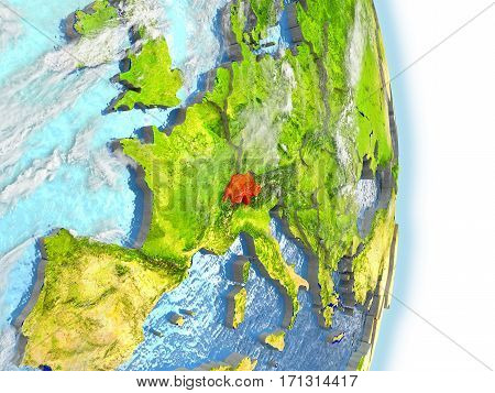 Switzerland In Red On Earth